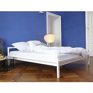 Ikarus Betten luga bett stahl 160 x 200 cm weiß amazon de küche haushalt