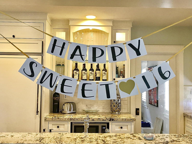 Amazon.com: Sweet 16 Birthday Banner - Gold Hearts and Ribbon ...