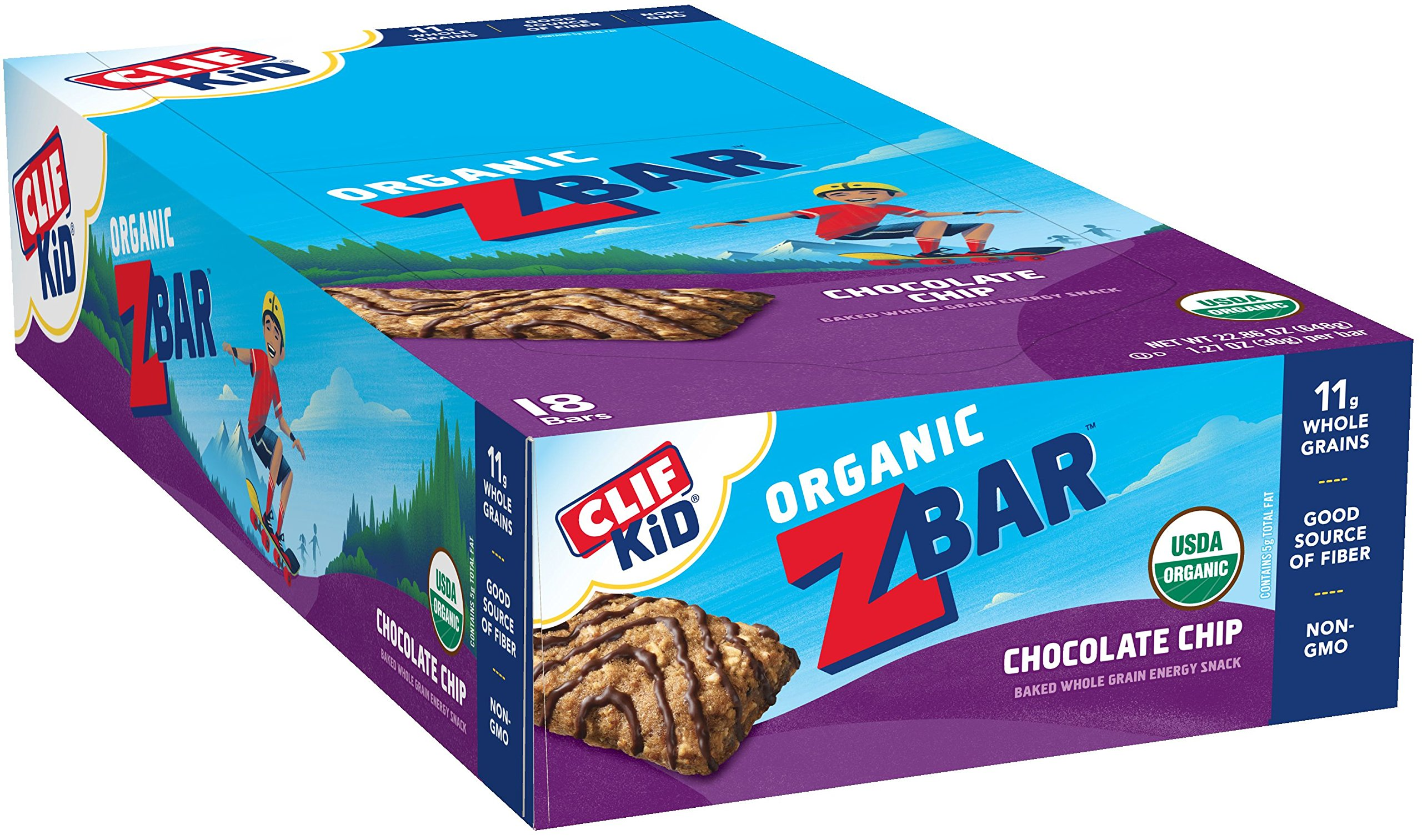 Merveilleux CLIF KID ZBAR   Organic Energy Bar   Chocolate Chip   (1.27 Ounce Snack Bar,  18 Count)