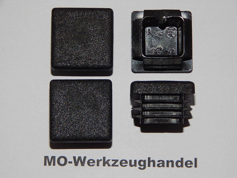 aus Kunststoff Schwarz 25x25 mm 12 St/ück Vierkant Rohrstopfen 25 x 25 mm Lamellenstopfen Endkappen f/ür Quadratrohr Farbe: Schwarz