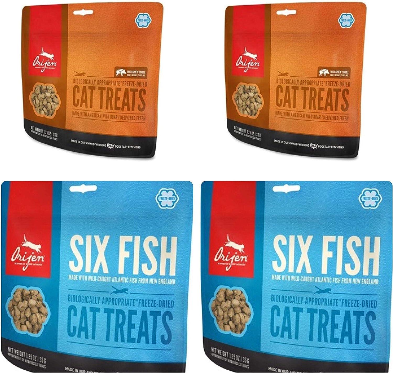 Orijen 2 Six Fish Cat Treats 1.25 oz ea and 2 Wild Boar Cat Treats 1.25 oz. ea. (4 BGS Total)