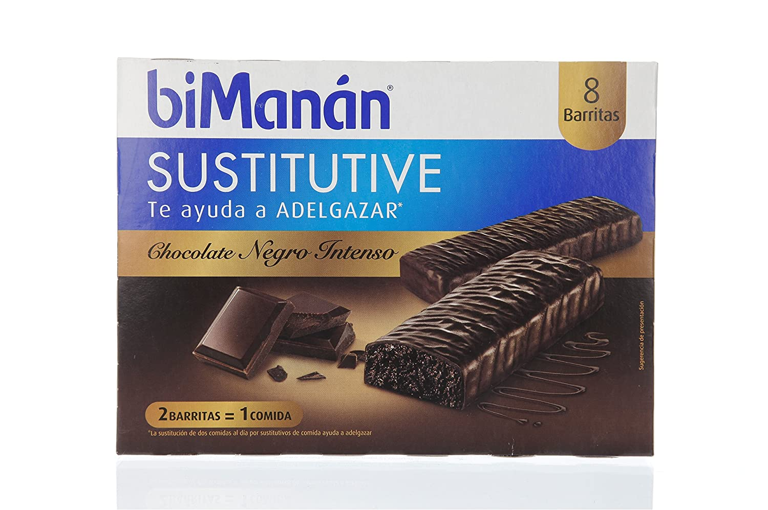 Bimanán - Sustitutive Barritas Chocolate Intenso 8 uds: Amazon.es: Salud y cuidado personal