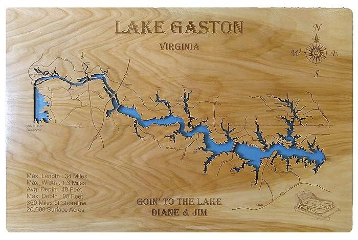 Gaston Nc Map.Amazon Com Lake Gaston North Carolina Standout Wood Map Wall