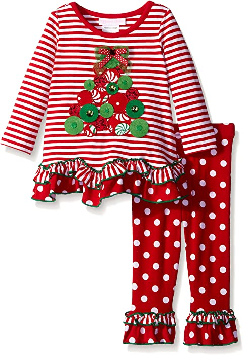 9817c082d37158 Bonnie Baby Baby-Girls Christmas Tree Appliqued Knit Legging Set, Red, 24  Months