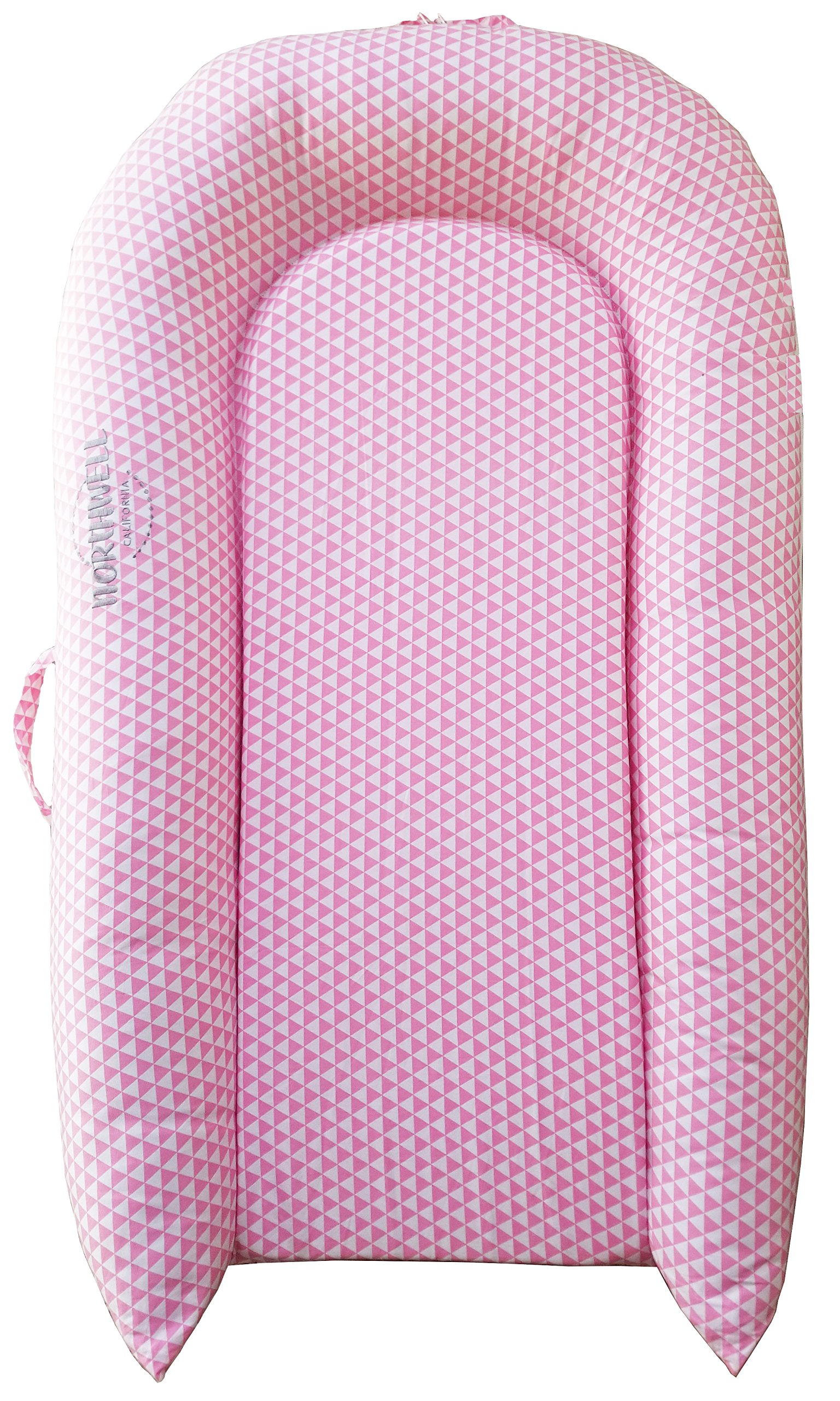 Northwell Toddler Lounger - Perfect for Co-Sleeping, Cuddling, Toddler Nest, Portable Toddler Bed & Crib to Bed Transition - Breathable, Hypoallergenic, Non-Toxic, for 9-36 Months (Pink Lemonade)