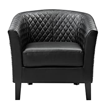 Awe Inspiring Pulaski Black Faux Leather Upholstered Bucket Accent Chair With Chrome Nailhead Medium Ncnpc Chair Design For Home Ncnpcorg