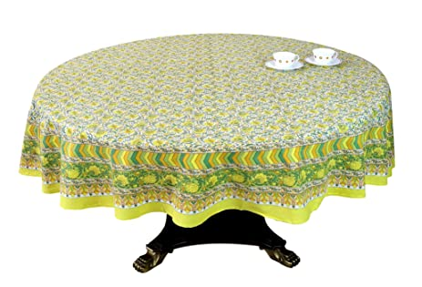 ShalinIndia Yellow Green Floral Print Round Tablecloth   90 Inch For  6 Seater Table