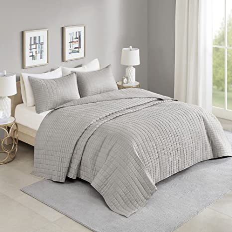 comfort spaces kienna quilt set luxury double sided stitching design all season lightweight coverlet bedspread bedding matching shams oversized