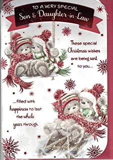 Son And Daughter-in-Law Christmas Card ~ To A Very Special Son /& Daughter-in-Law Merry Christmas To You ~ Cute Bears Quality Card