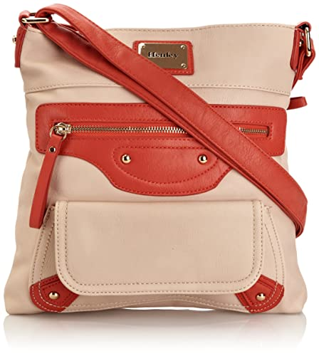 3e3f52a4bf Henley Womens Charlotte Cross-Body Bag Beige Coral  Amazon.in  Shoes    Handbags