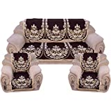 radhey home furnishing Cotton Sofa Covers, Coffee - Set of 6-Pcs