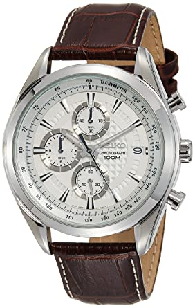 27f5c88ce7d Seiko Chronograph SSB181 Silver Tone Dial Brown Leather Band Men s Watch
