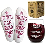 VINAKAS Funny Wine Glass+Wine Socks-Perfect gift set women with an UNBREAKABLE 16 oz/450ml, BPA Free Funny Wine Glass for Wom