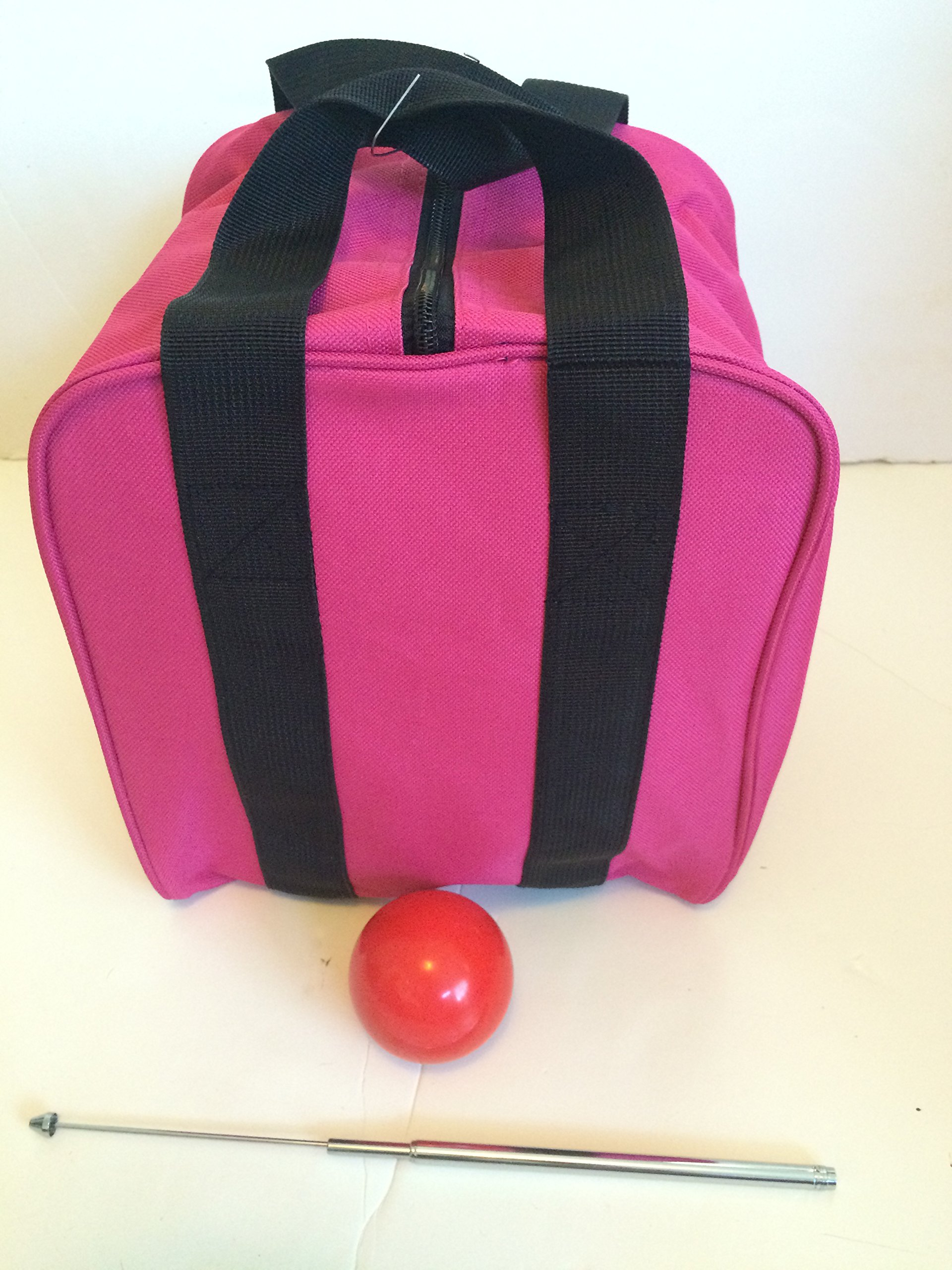 Unique Bocce Accessories Package - Extra Heavy Duty Nylon Bocce Bag (Pink with Black Handles), red pallina, Extendable Measuring Device