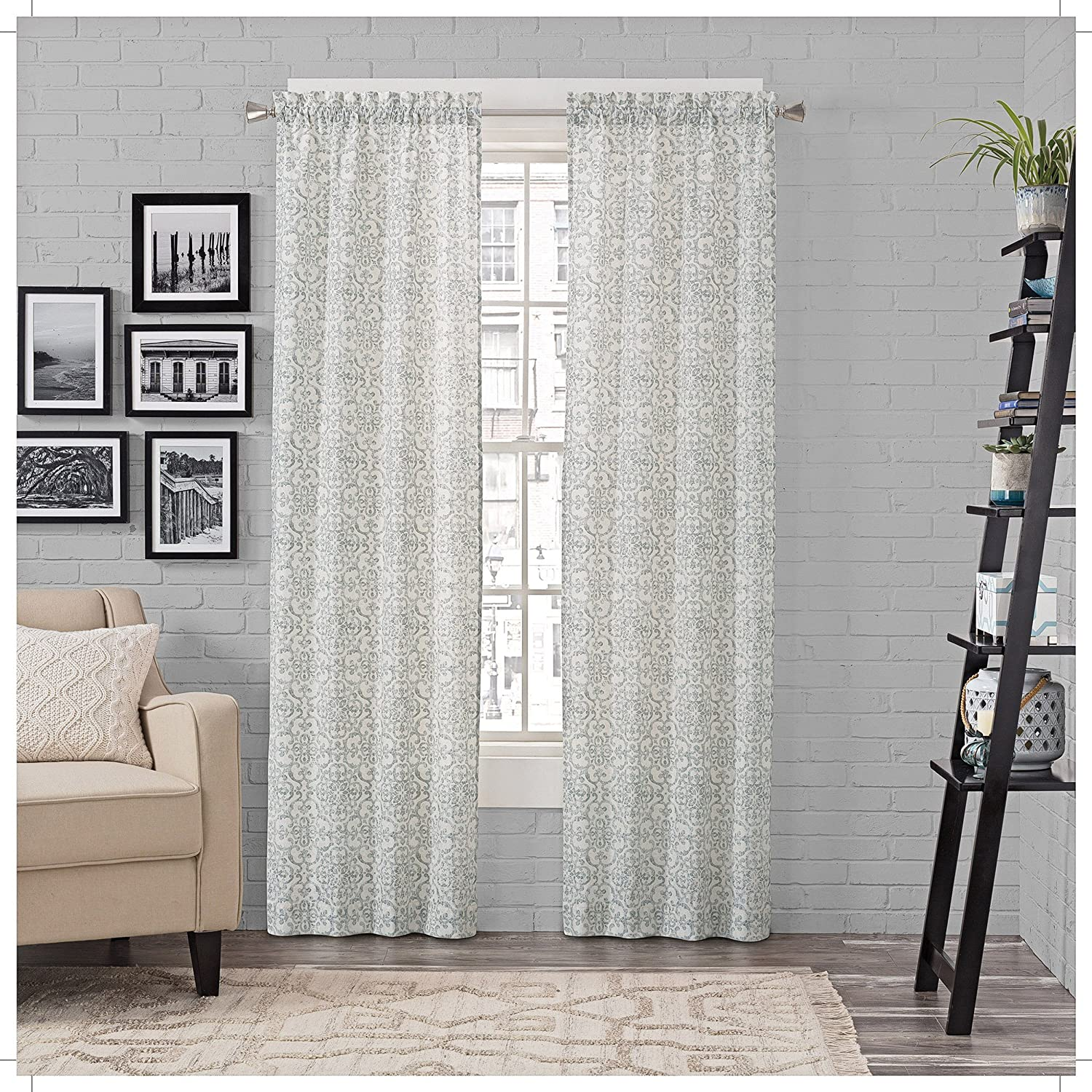 """PAIRS TO GO Brockwell 2-Pack Window Curtains, 56"""" x 84"""", Spa, 2 Piece"""