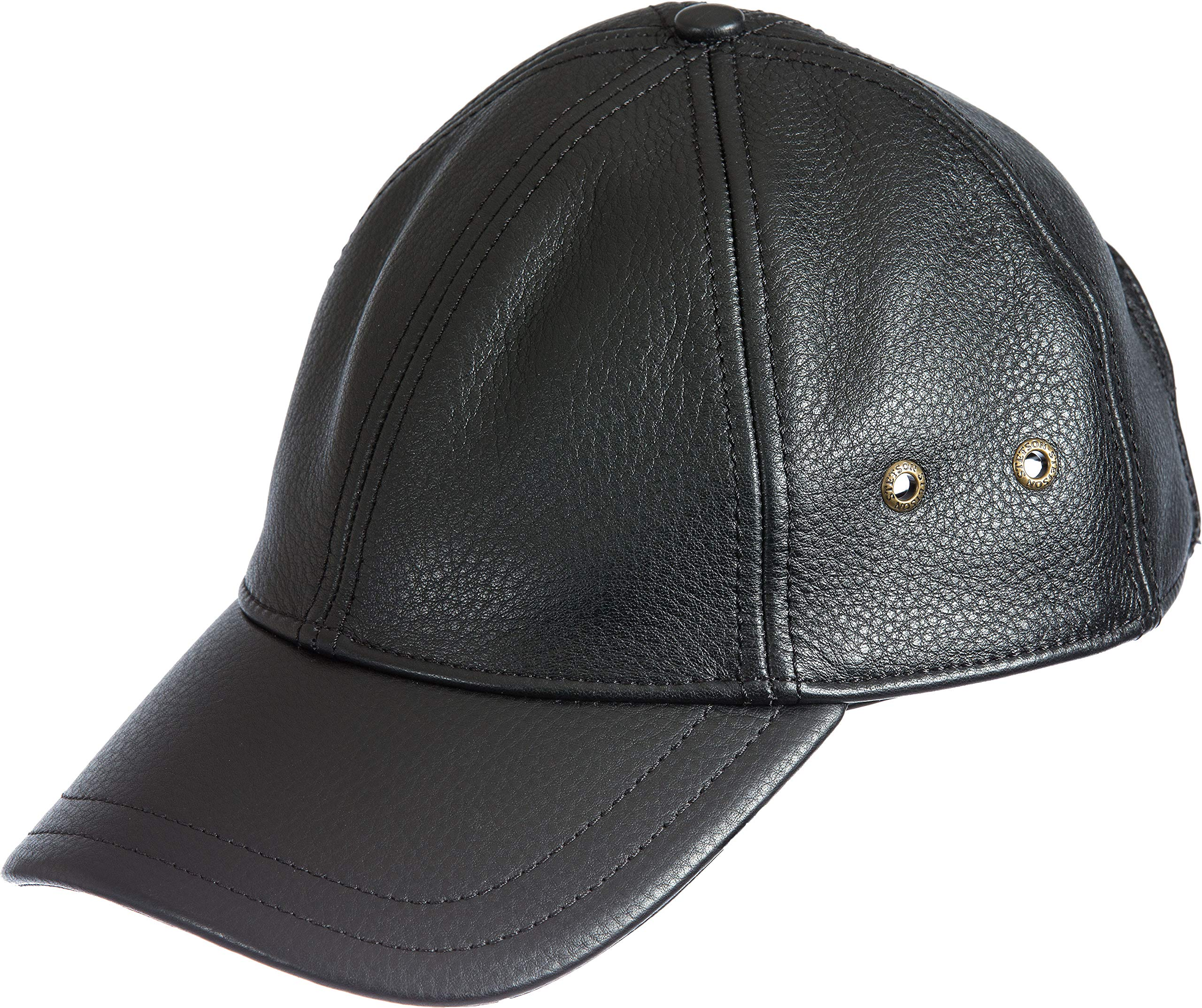 Overland Sheepskin Co Antique Leather Baseball Cap Black
