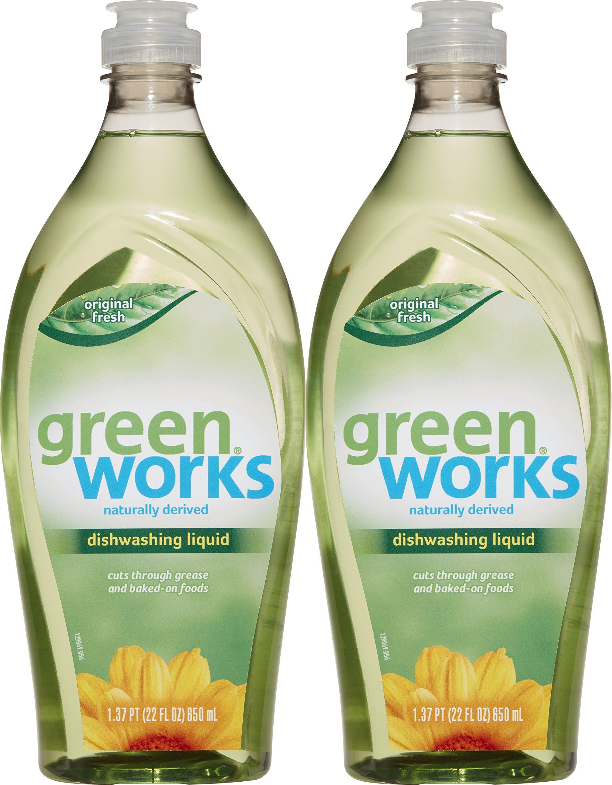 Green Works Natural Dishwashing Liquid Original Scent Value Pack, Pack of Two, 22 Fl Oz Bottles (44 Fl Oz Total)