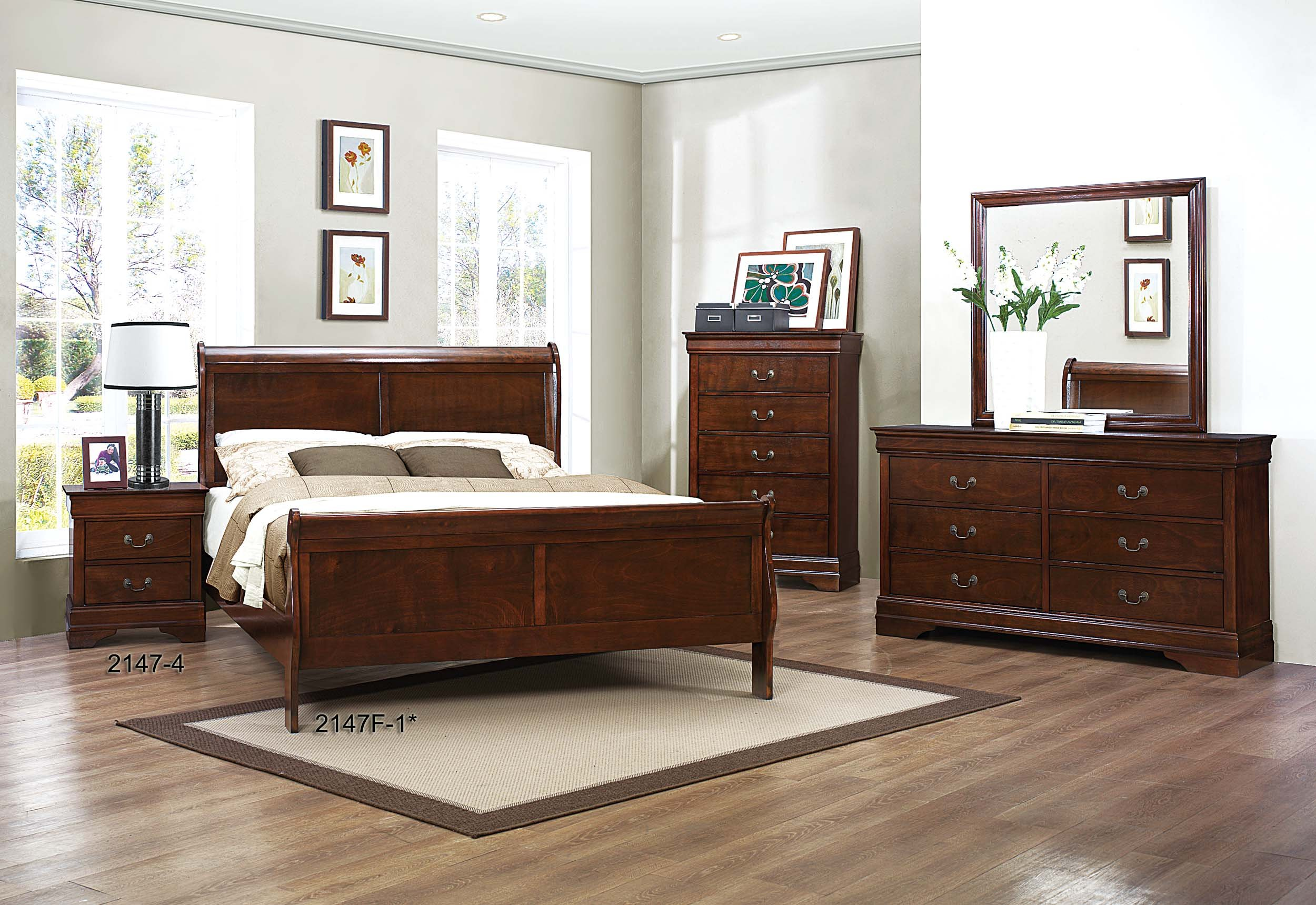 Homelegance Mayville Full Sleigh Bed Frame, Cherry by Homelegance (Image #3)