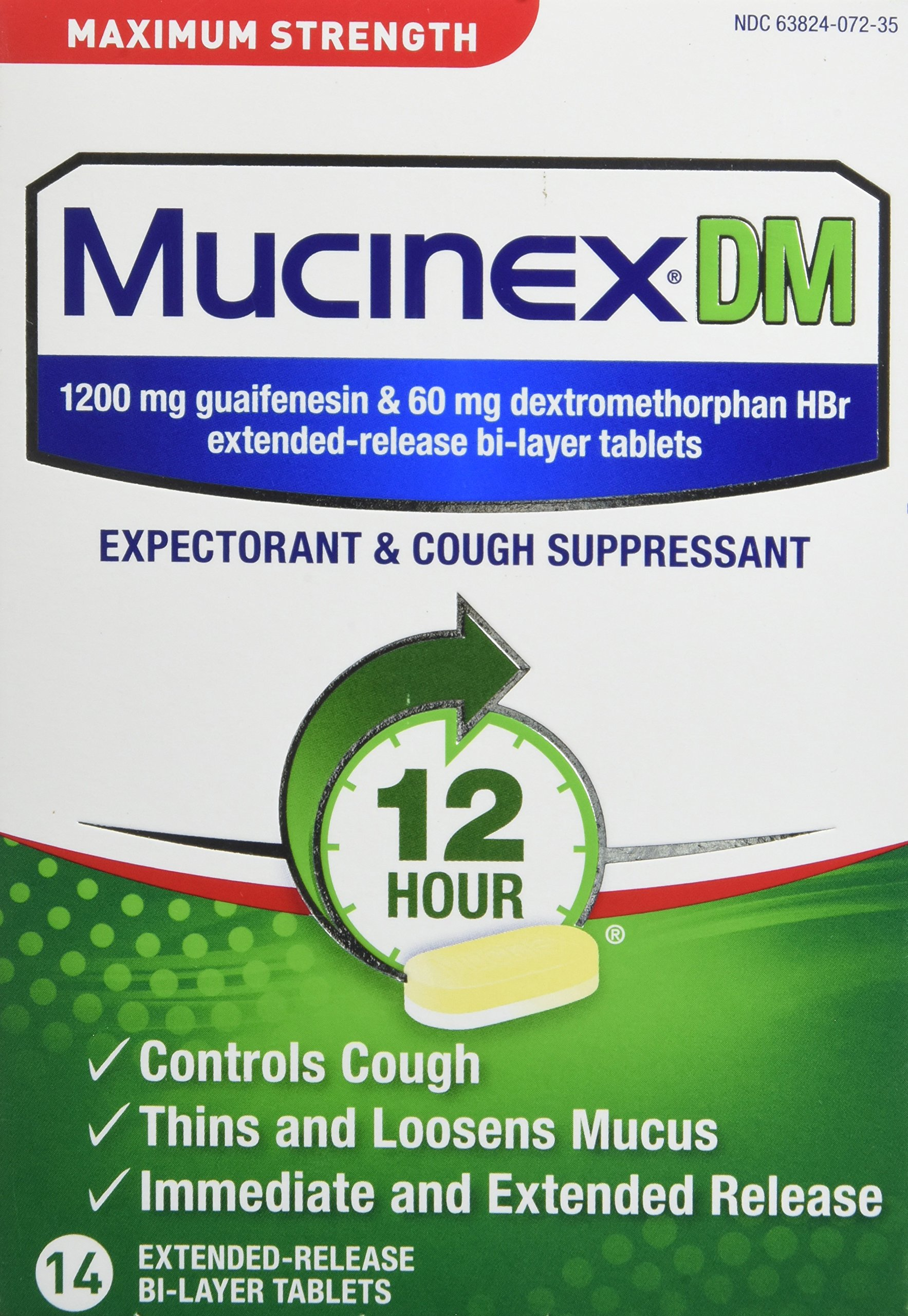 Mucinex DM Maximum Strength 12-Hour Expectorant and Cough Suppressant Tablets, 14 ct