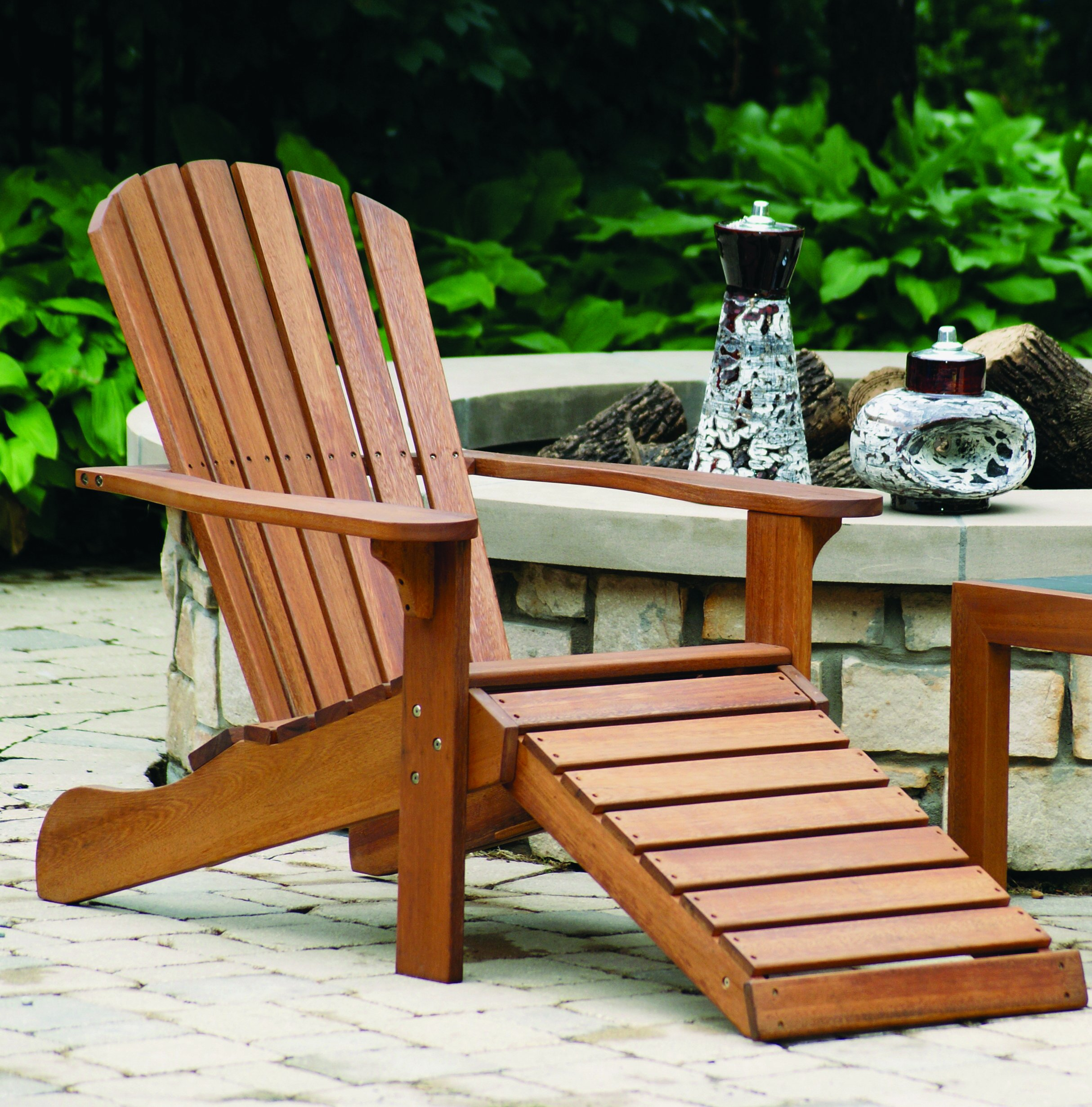 Outdoor Interiors CD3111 Eucalyptus Adirondack Chair and Built In Ottoman by Outdoor Interiors (Image #3)