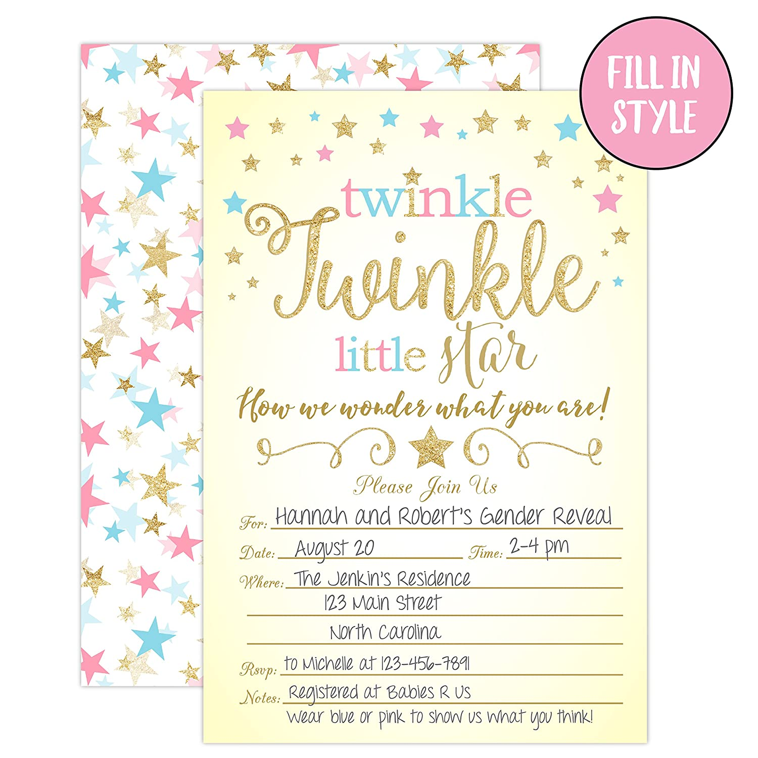 Twinkle Little Star Gender Reveal Invitations Party Baby Shower Invites 20
