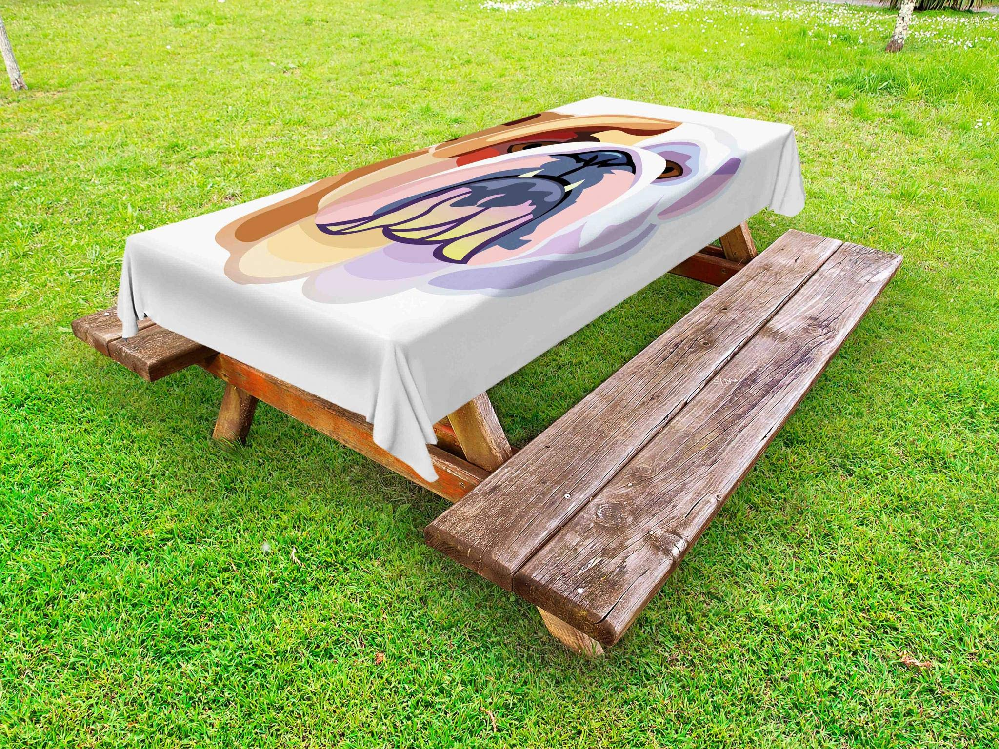 Ambesonne English Bulldog Outdoor Tablecloth, Bicolor Cartoon Style Bulldog Portrait Abstract Animal Design, Decorative Washable Picnic Table Cloth, 58 X 120 Inches, Brown Pale Muave Pink