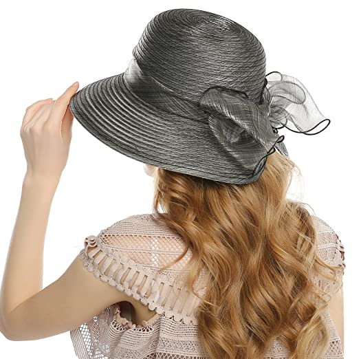 WELROG Women s Church Derby Hat - Organza Wide Brim Bowknot Wedding Tea  Summer Hats(Black 0b6a592a681