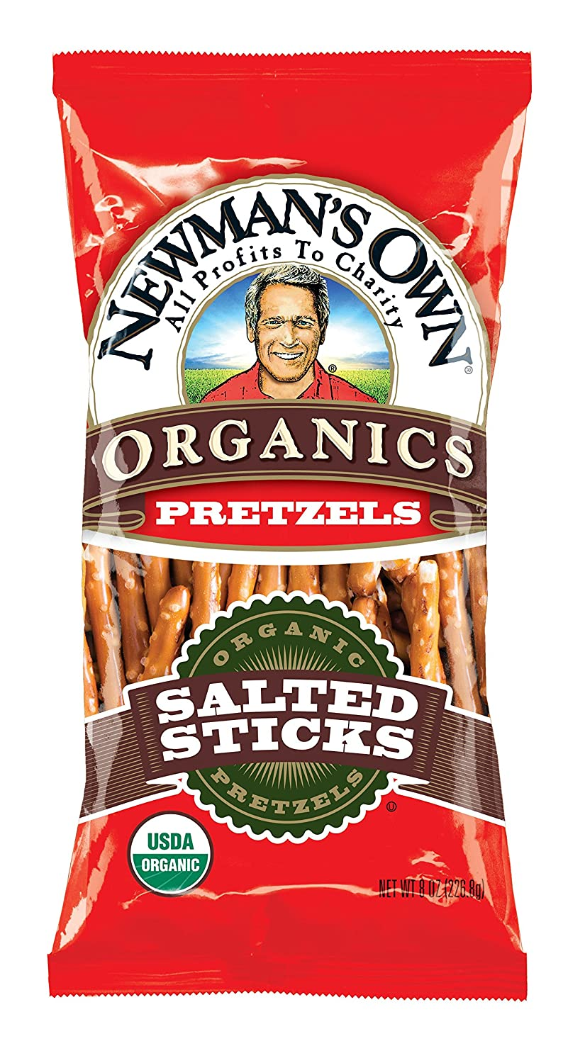 Newman's Own Organics Pretzels, Salted Sticks, 8-Ounce Bags (Pack of 12)