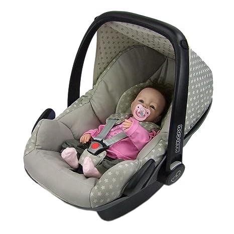 BAMBINIWELT Ersatzbezug für Maxi-Cosi PEBBLE 5-tlg, Bezug für Babyschale, Komplett-Set STERNE BEIGE *NEU*