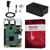 NeeGo Raspberry Pi 3 Kit – Pi 3 Model B Barebones Computer Motherboard with 64bit Quad Core CPU & 1GB RAM, Black Pi3 Case, 2.5A Power Supply & Heatsink 2-Pack