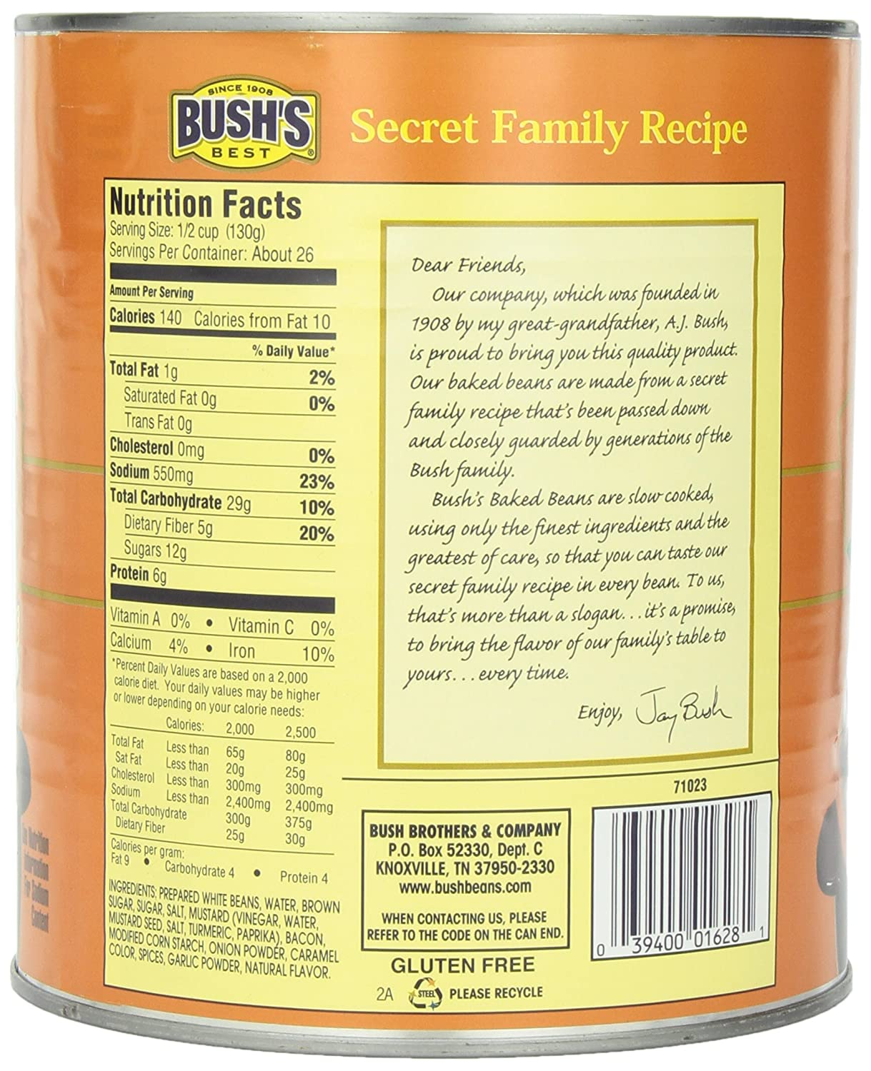 Amazon.com : Bush's Best Baked Beans, 117 Ounce : Packaged Baked Beans : Grocery & Gourmet Food
