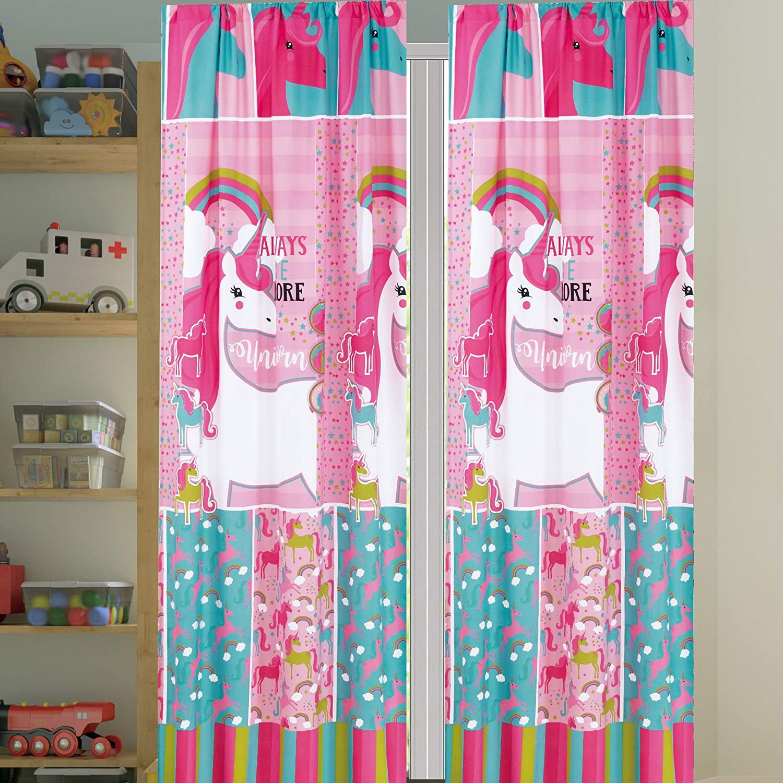 Sapphire Home Kids Girls Window Curtain Panels with tiebacks (4 Piece Set), Unicorn and Rainbow Print Window Curtain for Girls Kids, Pink Girls Kids Teens Room Décor, Unicorn Curtain