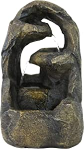 Sunnydaze Cavernous Rock Tiers Indoor Tabletop Fountain - Mini Water Feature - Interior Decor for Desk, Bedroom, Office, Den, Home and Living Room - 12-Inch