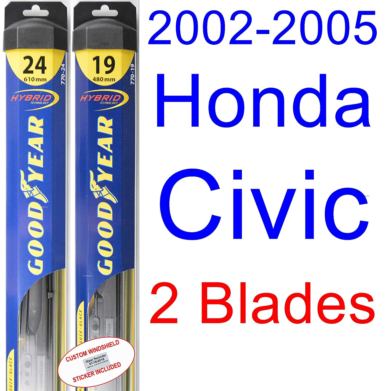 2002 - 2005 Honda Civic Si hoja de limpiaparabrisas de repuesto Set/Kit (Goodyear limpiaparabrisas blades-hybrid) (2003,2004): Amazon.es: Coche y moto