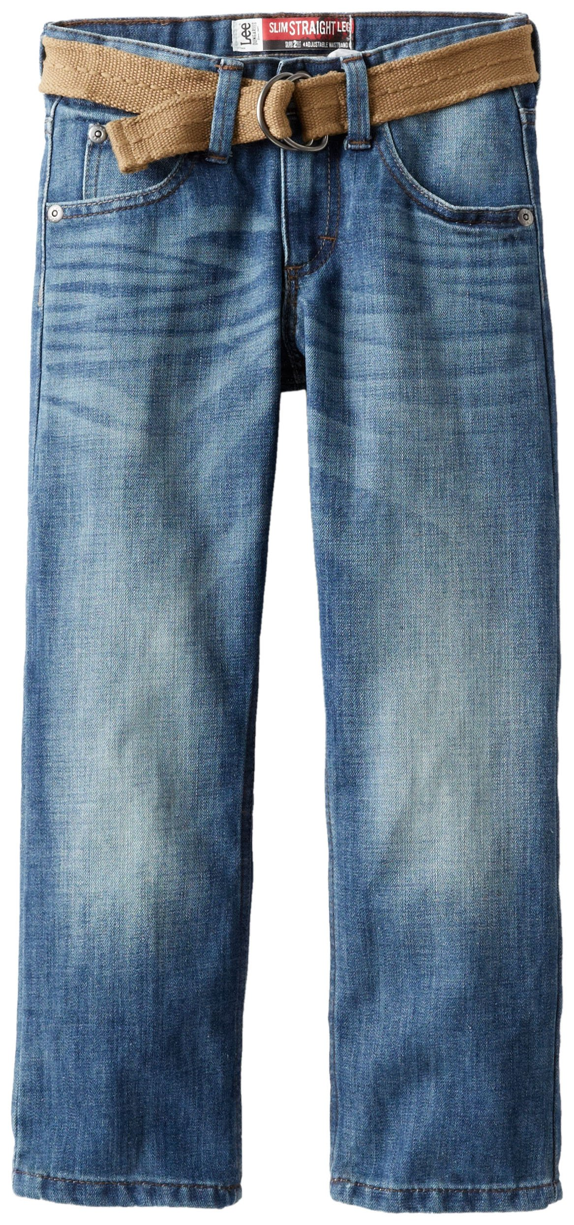 Lee Big Boys' Dungarees Belted Straight Leg Jeans, Jetty, 12  Slim