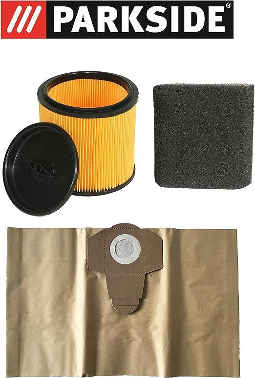 Juego de filtros Parkside filtro en húmedo, en seco y bolsas de aspiradora 20 L para Lidl Parkside mojado aspiradora en seco pnts Modelos: Amazon.es: Hogar