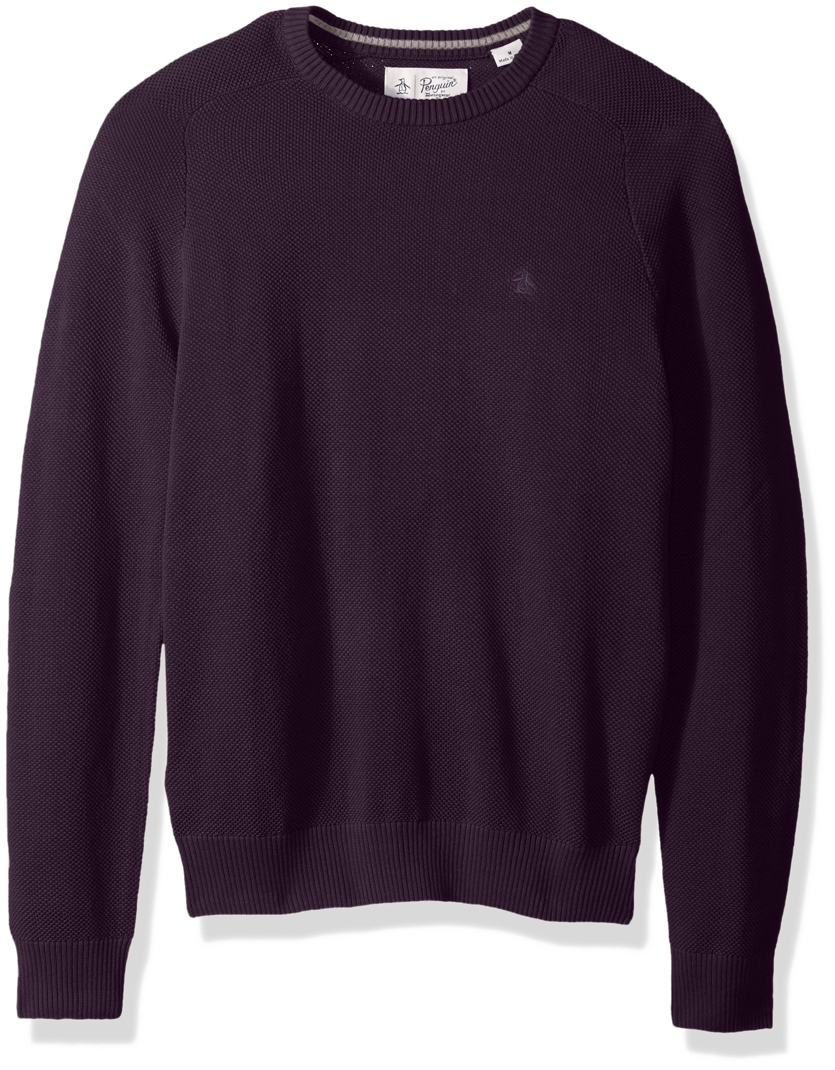 Original Penguin Men's Long Sleeve Honeycomb Pique Sweater, Nightshade, Medium