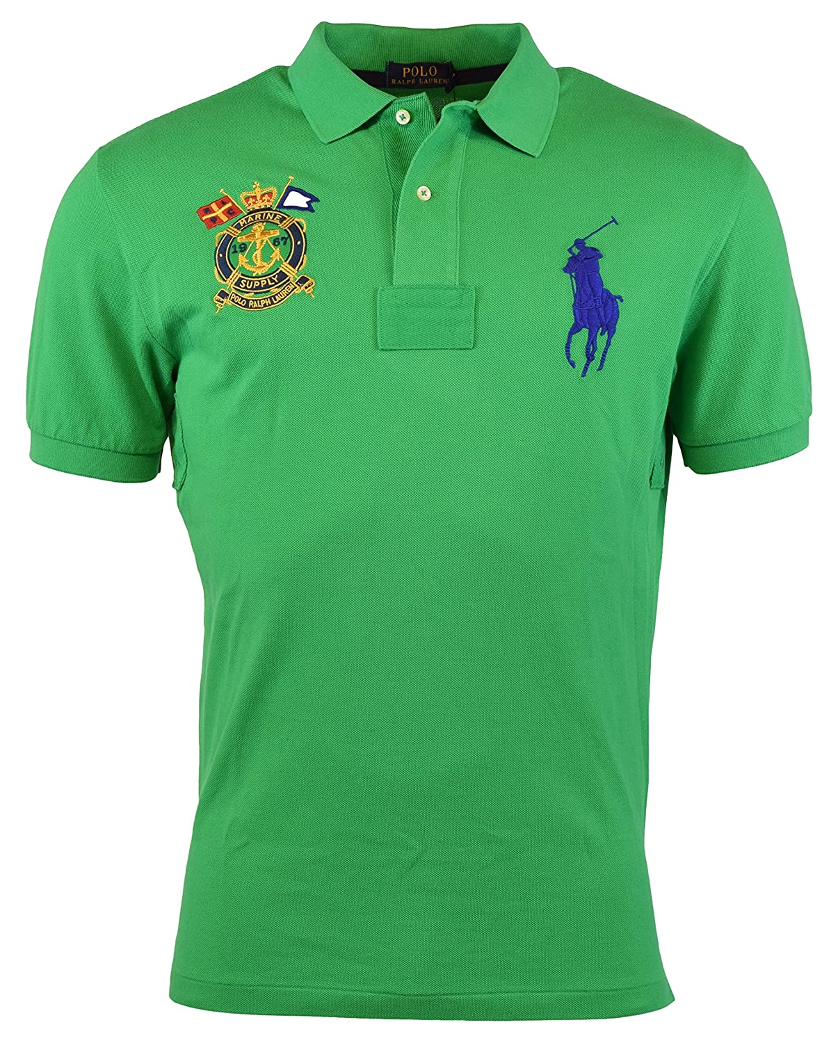 3d3131592 Polo Ralph Lauren Men's Classic-Fit Nautical-Crest Polo Shirt, Stem Green,  XL at Amazon Men's Clothing store: