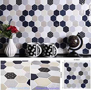 "STIQUICK TILES Peel and Stick Backsplash - for Kitchen Decorative Tiles (10 Sheets) (10"" X 10"" 10 Sheets, Honeycomb Quilt)"