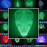 3D Lampe 3D Leuchte 3D LED Stimmungslicht. 7 verschiedene Farben wählbar - Auswahl aus 81 verschiedenen Motiven, hier Joker ca.24x14cm inkl.Sockel - 3D Illusion Dekolicht mit USB Anschluß und 220V USB Netzteil