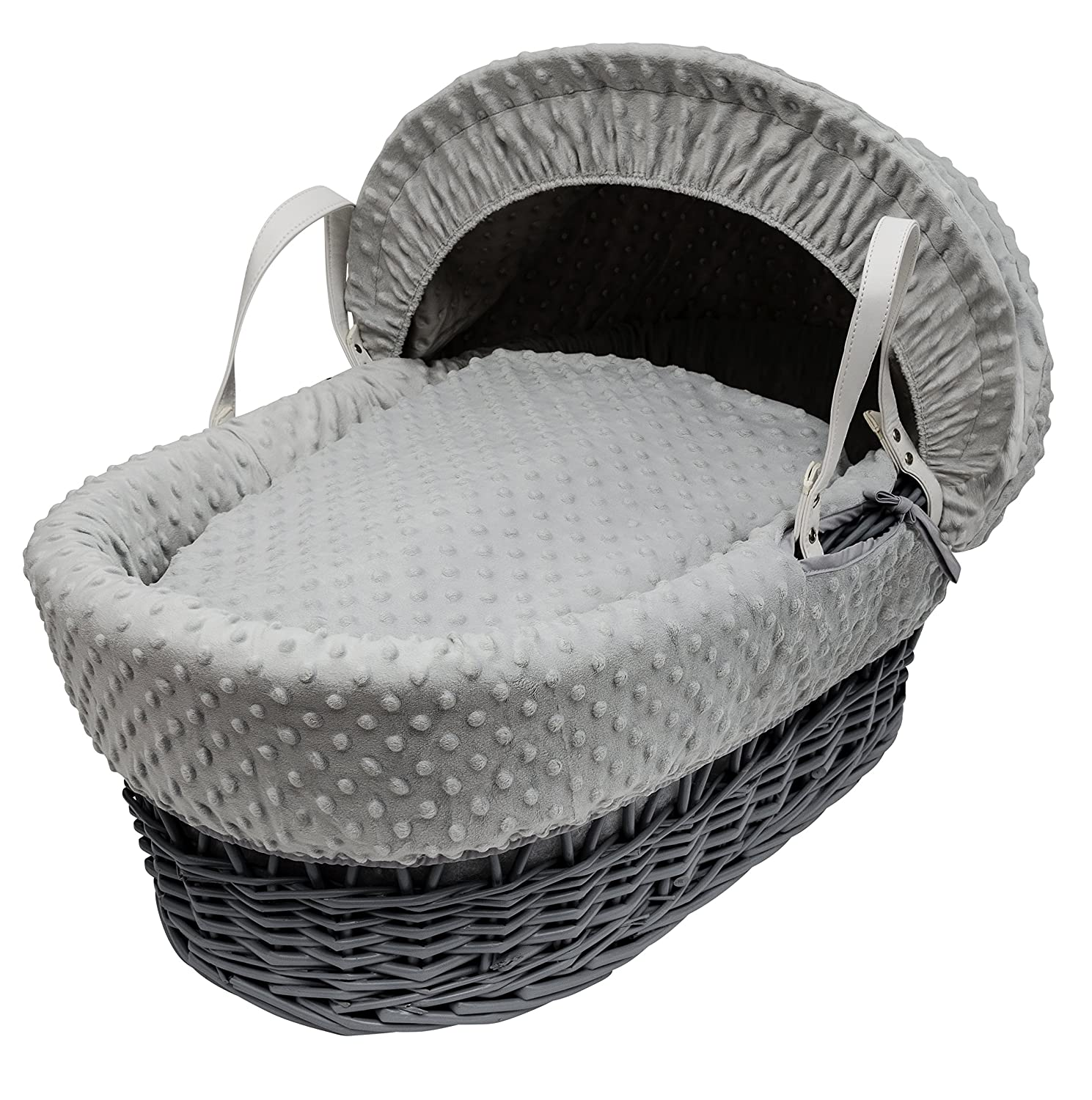 Kinder Valley Grey Dimple, Grey Wicker Moses Basket 13405