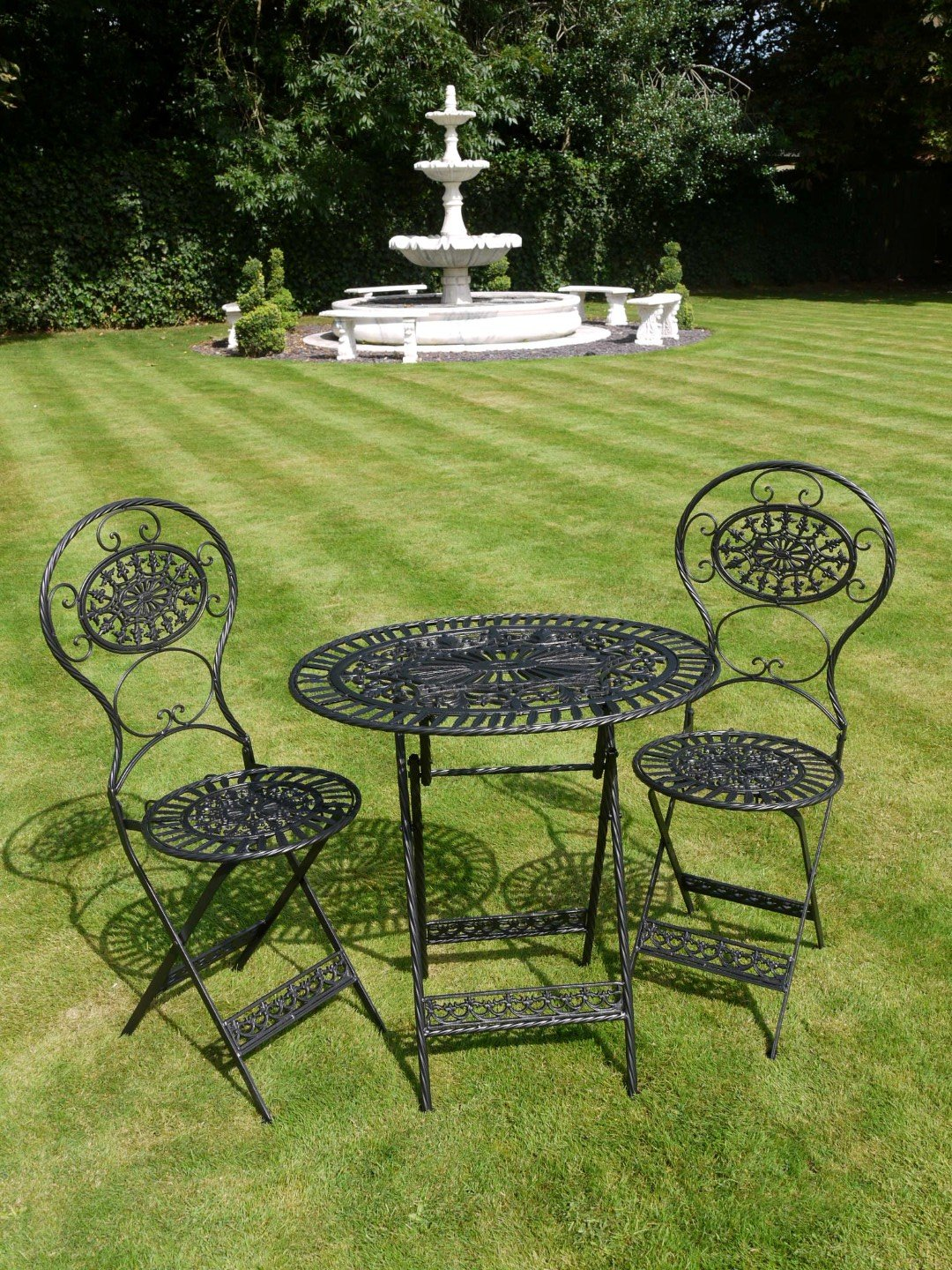 French bistro chairs metal - Black Wrought Iron 3 Piece Bistro Style Garden Patio Furniture Set