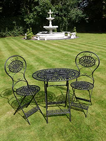 Black Wrought Iron 3 Piece Bistro Style Garden Patio Furniture Set