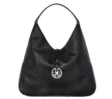 756d43dfe97b SILVIO TOSSI Damen Leder Handtasche Schultertasche Schwarz Modell  12769-02