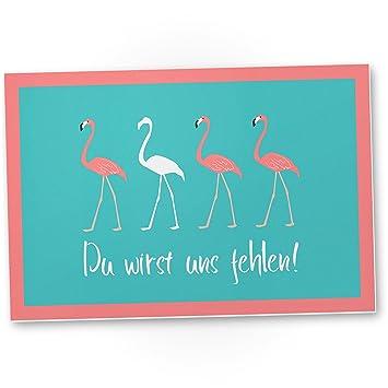 du wirst uns fehlen flamingo kunststoff schild abschiedskarte jobwechsel geschenkidee abschiedsgeschenk kollegen