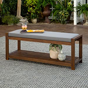 Walker Edison Willmington Solid Acacia Wood Slatted Outdoor Bench with Cushion, 48 Inch, Dark Brown and Grey