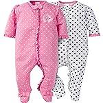 Gerber Baby Girls' Paquete de 2 Cremalleras Frontales para Dormir y Jugar