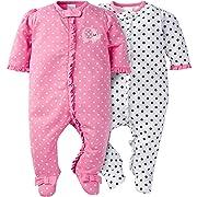 Gerber Baby Girls' 2 Pack Zip Front Sleep 'n Play,Elephants/Flowers,0-3 Months