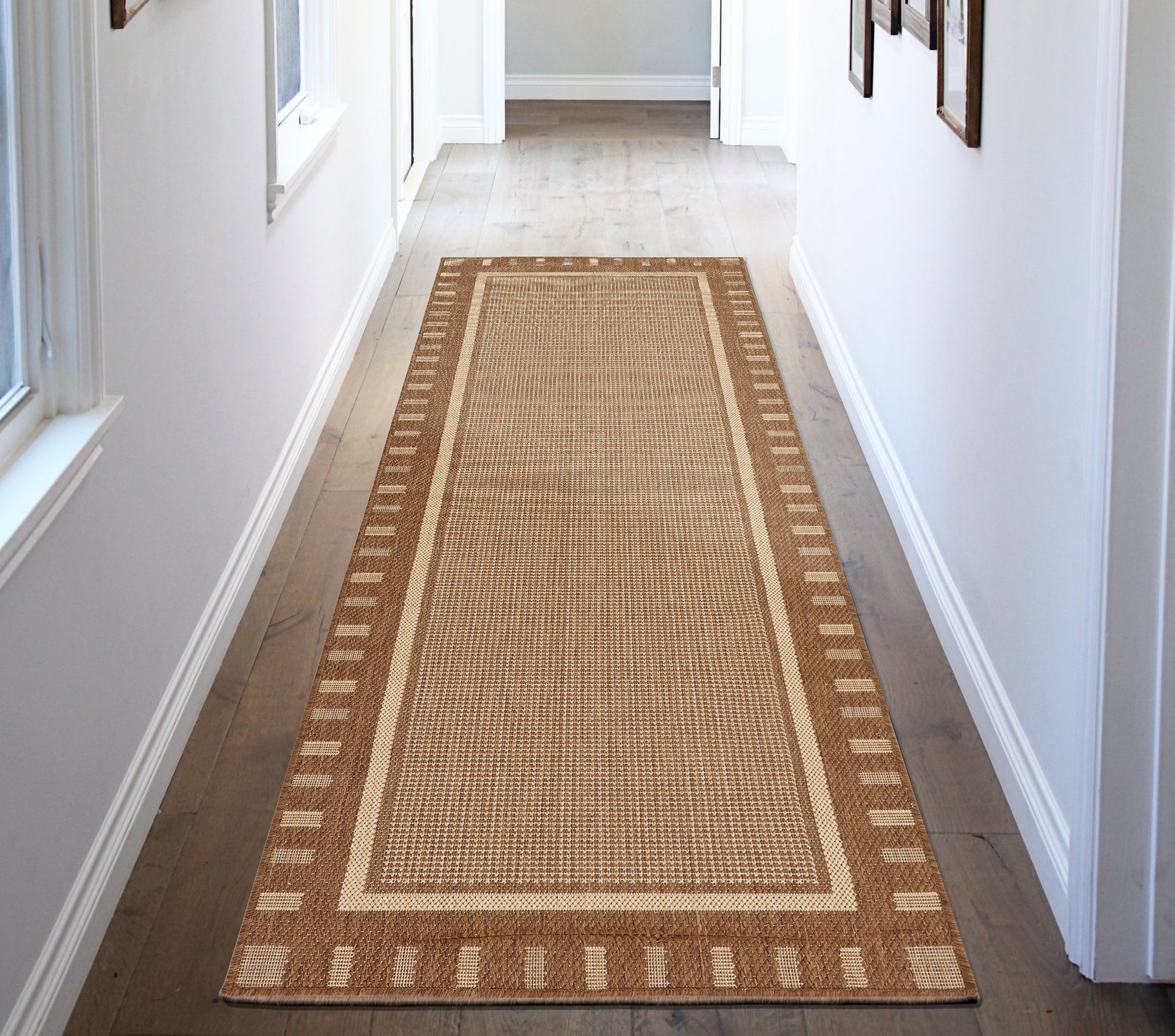 Ottomanson JRD8838-3X7 Jardin Collection Contemporary Bordered Design Indoor/Outdoor Jute Backing Runner Rug, 2'7'' x 7'0'', Brown