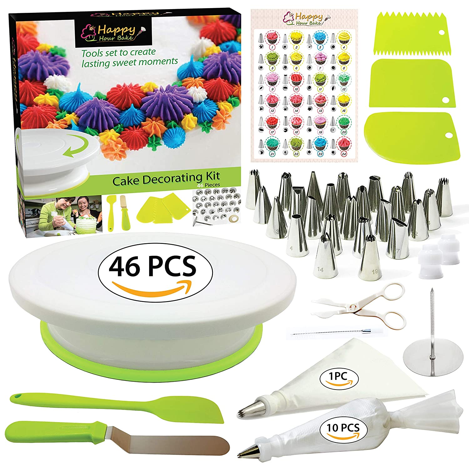 Cake Decorating Supplies Kit with Cake Turntable - Baking kit - Silicone Offset Spatula - Pastry Bags - Icing Tips - Cupcake Decorating Kit with Easy Nozzle Set - Professional Tools for Beginners Happy Hour Bake